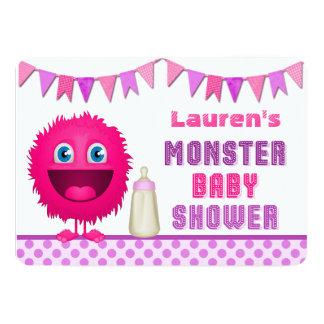 Cute Monster Girl Baby Shower Card