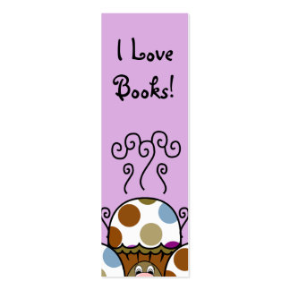 Cute Monster With Blue And Brown Polkadot Cupcakes Business Card