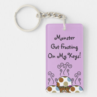 Cute Monster With Blue And Brown Polkadot Cupcakes Double-Sided Rectangular Acrylic Key Ring