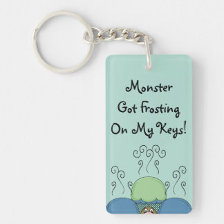 Cute Monster With Blue And Cyan Frosted Cupcakes Double-Sided Rectangular Acrylic Key Ring