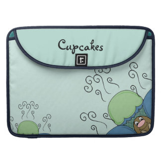 Cute Monster With Blue And Cyan Frosted Cupcakes Sleeve For MacBooks