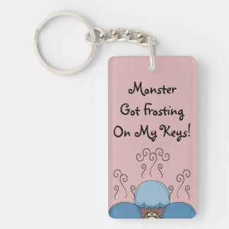 Cute Monster With Blue And Red Frosted Cupcakes Double-Sided Rectangular Acrylic Key Ring