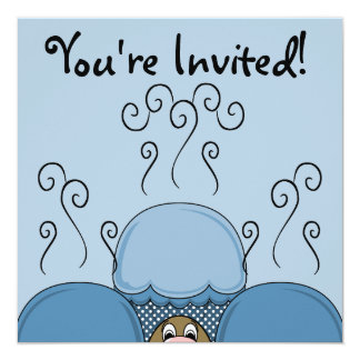 Cute Monster With Blue Frosted Cupcakes Invite