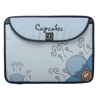 Cute Monster With Blue Frosted Cupcakes MacBook Pro Sleeves