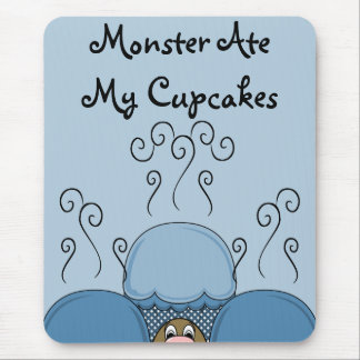 Cute Monster With Blue Frosted Cupcakes Mousepads