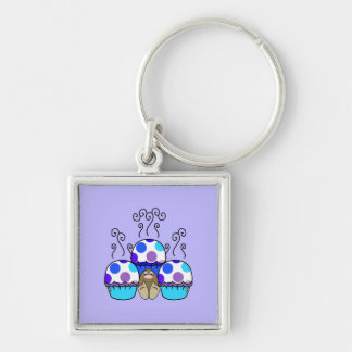 Cute Monster With Blue & Purple Polkadot Cupcakes Key Chains