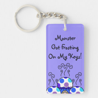 Cute Monster With Blue & Purple Polkadot Cupcakes Double-Sided Rectangular Acrylic Keychain