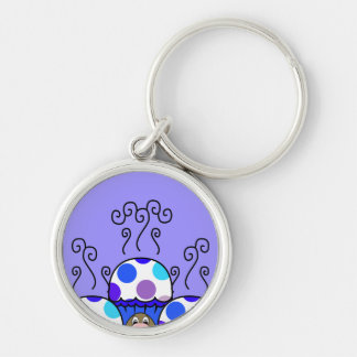 Cute Monster With Blue & Purple Polkadot Cupcakes Silver-Colored Round Key Ring