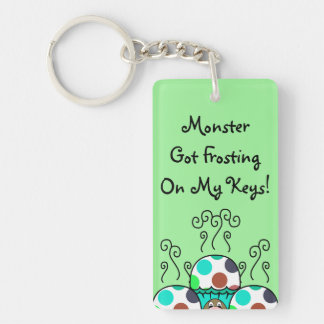 Cute Monster With Cyan And Blue Polkadot Cupcakes Double-Sided Rectangular Acrylic Keychain