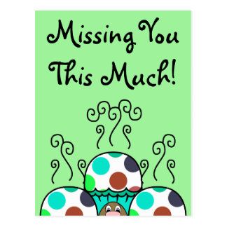 Cute Monster With Cyan And Blue Polkadot Cupcakes Post Cards