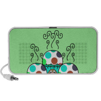 Cute Monster With Cyan And Blue Polkadot Cupcakes iPod Speakers
