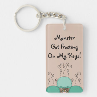 Cute Monster With Cyan And Orange Frosted Cupcakes Double-Sided Rectangular Acrylic Key Ring