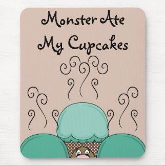 Cute Monster With Cyan And Orange Frosted Cupcakes Mouse Pad
