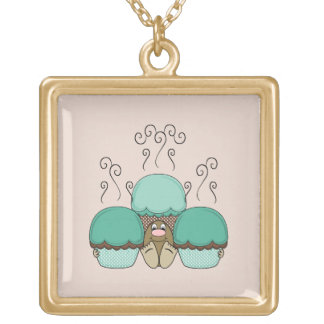 Cute Monster With Cyan And Orange Frosted Cupcakes Personalized Necklace