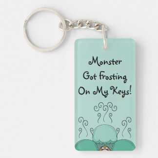 Cute Monster With Cyan Frosted Cupcakes Double-Sided Rectangular Acrylic Key Ring