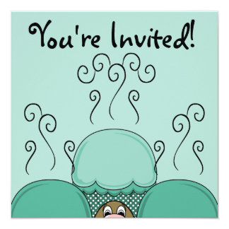 Cute Monster With Cyan Frosted Cupcakes Invitations
