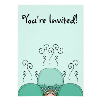 Cute Monster With Cyan Frosted Cupcakes Custom Invites