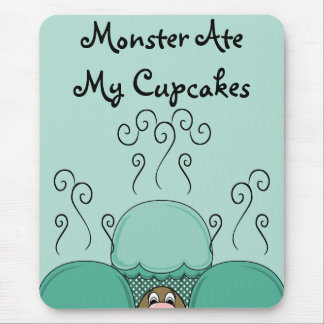 Cute Monster With Cyan Frosted Cupcakes Mousepad