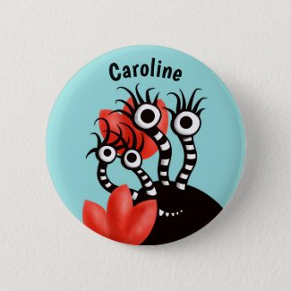 Cute Monster With Four Eyes Abstract Tulips Name 6 Cm Round Badge