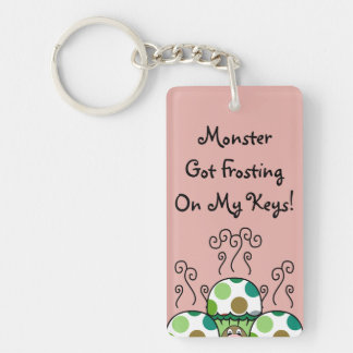 Cute Monster With Green & Brown Polkadot Cupcakes Double-Sided Rectangular Acrylic Key Ring