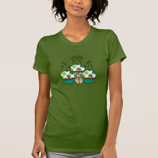 Cute Monster With Green & Brown Polkadot Cupcakes Shirt