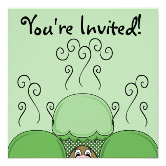 Cute Monster With Green Frosted Cupcakes Personalized Invite