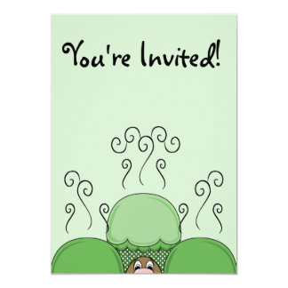 Cute Monster With Green Frosted Cupcakes Invites