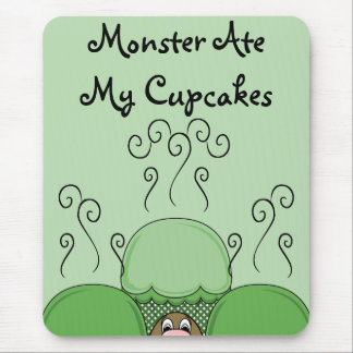 Cute Monster With Green Frosted Cupcakes Mousepad