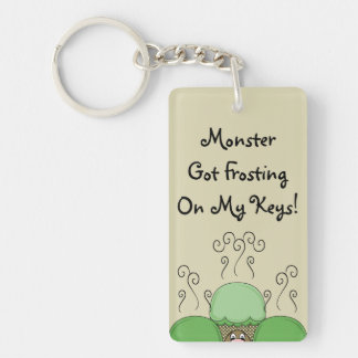 Cute Monster With Green & Yellow Frosted Cupcakes Double-Sided Rectangular Acrylic Keychain