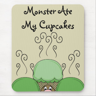 Cute Monster With Green & Yellow Frosted Cupcakes Mouse Pads