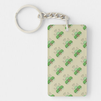 Cute Monster With Green & Yellow Frosted Cupcakes Single-Sided Rectangular Acrylic Key Ring