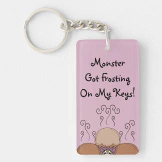 Cute Monster With Orange And Pink Frosted Cupcakes Double-Sided Rectangular Acrylic Key Ring