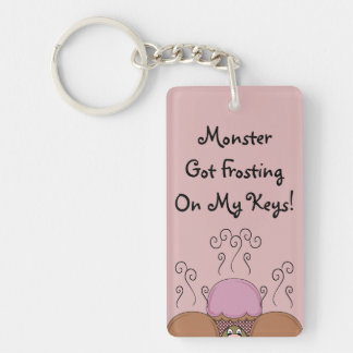Cute Monster With Orange And Red Frosted Cupcakes Double-Sided Rectangular Acrylic Key Ring