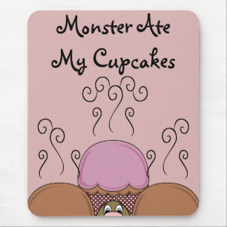 Cute Monster With Orange And Red Frosted Cupcakes Mousepads