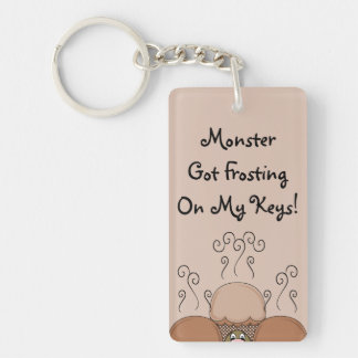 Cute Monster With Orange Frosted Cupcakes Double-Sided Rectangular Acrylic Key Ring