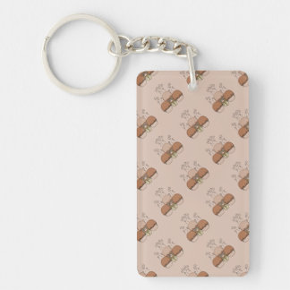 Cute Monster With Orange Frosted Cupcakes Rectangular Acrylic Key Chains