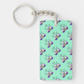 Cute Monster With Pink And Blue Polkadot Cupcakes Key Chain