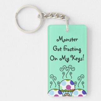 Cute Monster With Pink And Blue Polkadot Cupcakes Double-Sided Rectangular Acrylic Keychain