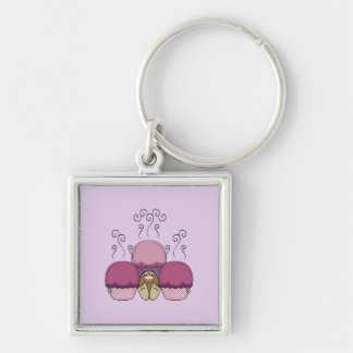 Cute Monster With Pink And Purple Frosted Cupcakes Key Chain