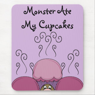 Cute Monster With Pink And Purple Frosted Cupcakes Mouse Pad
