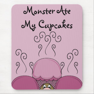 Cute Monster With Pink Frosted Cupcakes Mousepad