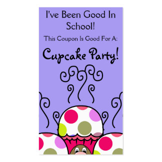 Cute Monster With Pink & Purple Polkadot Cupcakes Business Cards