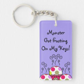 Cute Monster With Pink & Purple Polkadot Cupcakes Double-Sided Rectangular Acrylic Keychain