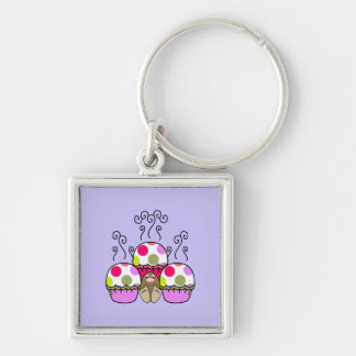 Cute Monster With Pink & Purple Polkadot Cupcakes Keychains