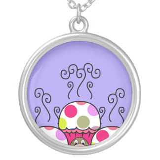 Cute Monster With Pink & Purple Polkadot Cupcakes Necklaces