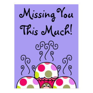 Cute Monster With Pink & Purple Polkadot Cupcakes Postcards