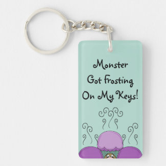 Cute Monster With Purple And Cyan Frosted Cupcakes Double-Sided Rectangular Acrylic Key Ring