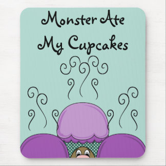 Cute Monster With Purple And Cyan Frosted Cupcakes Mouse Pad