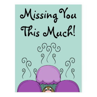 Cute Monster With Purple And Cyan Frosted Cupcakes Postcard