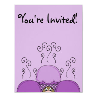 Cute Monster With Purple Frosted Cupcakes Custom Invitations